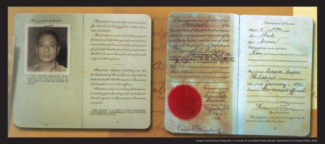 Before the issuance of Philippine passports, Filipinos travelled with American issued passports such as the one Roxas used as Commonwealth President.