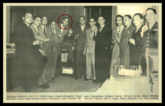 Renato Constantino was part of the dream team of Philippine diplomacy. Source: Mauro Mendez: From Journalism to Diplomacy (UP Press, 1978).