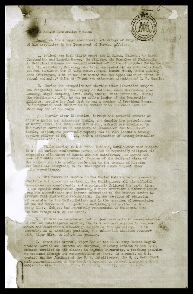 Intel report on Renato Constantino's alleged communist activities.Source: Elpidio Quirino Papers (Filipinas Heritage Library).
